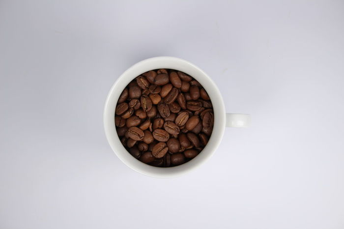 Bean Beans Breakfast Brown Coffee Coffee Beans Coffee Break Coffee Cup Coffee Time Cup Food And Drink Freshness Ingredient Isolated White Background Morning Coffee Mug Studio Shot White Background
