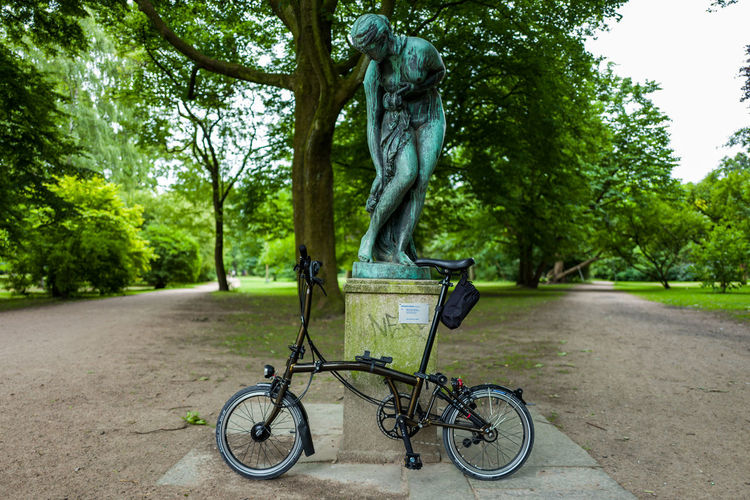 Brompton Black Lacquer edition in Hamburg Brompton Art And Craft Bicycle City Day Green Color Growth Land Vehicle Mode Of Transportation Nature No People Outdoors Park Park - Man Made Space Plant Representation Road Sculpture Transportation Tree Tree Trunk