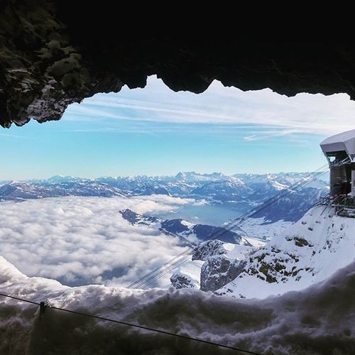 View from the top of Mt. Pilatus ❄🗻 Contiki Swissalps