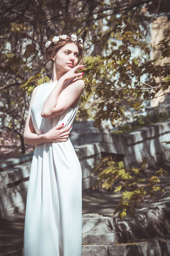 Adult Adults Only Arts Culture And Entertainment Beautiful People Beauty Beauty In Nature Day Fashion Fashion Model Females Glamour Haute Couture Modern Nature One Person Only Women Outdoors People Portrait Standing Summer Sunlight Young Adult