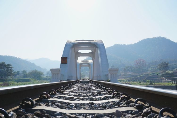 Railroad track against clear sky