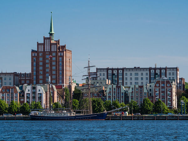 View to Rostock, Germany. Architecture Building Exterior City Cityscape Day Harbor Modern No People Outdoors Port River Rostock Sailing Ship Skyscraper Town Urban Skyline Warnow Water Windjammer