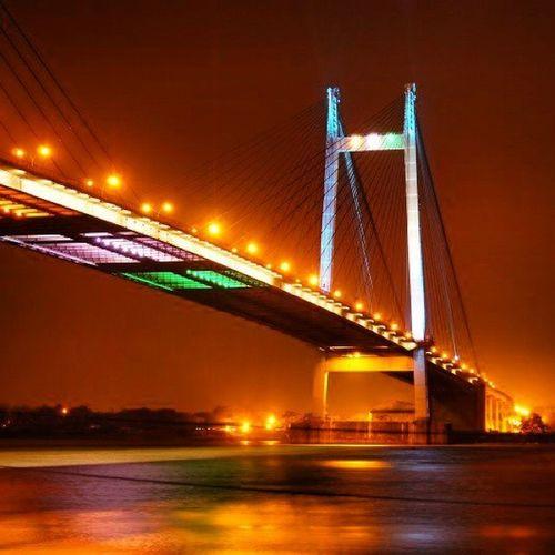 Howrah_Bridge Kolkata Hoogly_Bridge CityOfJoy Citylights City Lights Princep_ghat Ghats  West_bengal India Bridge Ganges Ganga