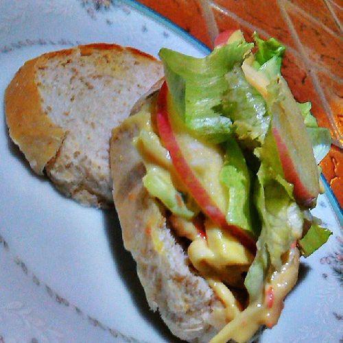 Crab salad sandwich for dinner! Crabsticks Bread Appples Mustard Wasabi Lettuce Dressing FoodPorn InstaFood InstaGood IGDaily IGersDaily Dinner