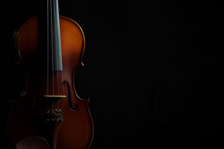 Violin copy space composition Music String Instrument Musical Instrument Arts Culture And Entertainment Musical Equipment Musical Instrument String String Violin Wood - Material Studio Shot Black Background Classical Music Indoors  Cut Out Copy Space Black Color Close-up Musician Dark Bow - Musical Equipment Double Bass Lines Object Vintage Art