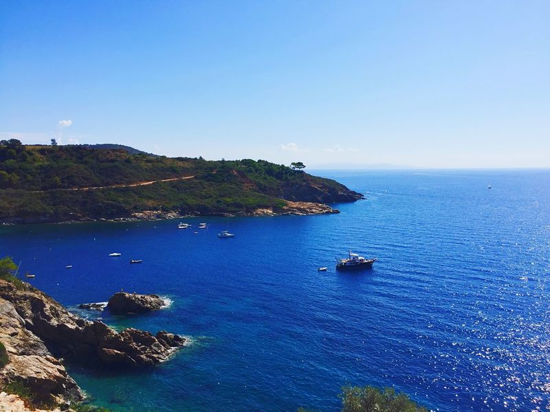 Sea Blue Scenics Water Nature Beauty In Nature Tranquil Scene Clear Sky No People Outdoors Tranquility Rock - Object Copy Space Nautical Vessel Day Horizon Over Water Transportation Cliff Sky Yacht Barbarossa Isola D'Elba  Porto Azzurro Italy