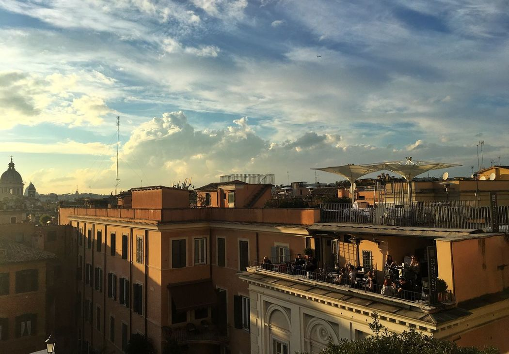 Architecture Building Exterior Built Structure Sky City Cloud - Sky Residential Building Outdoors Cityscape Day People People Sitting Crowd Sunset Rome Italy Roma Italia Spanish Steps Sunshine Architecture Sky And Clouds Restaurant Rooftops Roof The City Light
