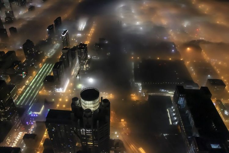 Foggy Chicago Night Illuminated City Building Exterior Cityscape Architecture Built Structure Cloud - Sky Sky No People Outdoors City Life Street Glowing Lighting Equipment High Angle View Office Building Exterior Modern Skyscraper Nightlife Chicago Architecture Foggy Foggy Morning Urban