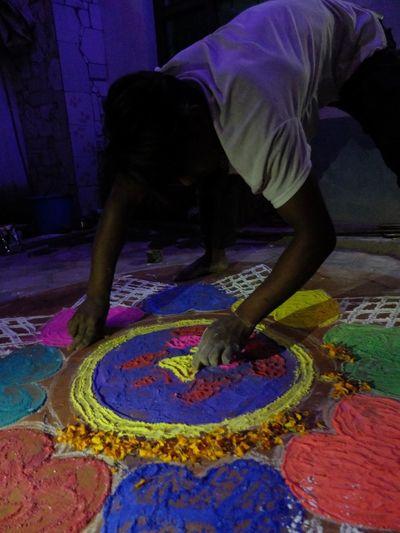 Celebration Colors Hindu Nepal Boy Design Handmade Mandala Offerings Tihar Festival Of Light And Colour