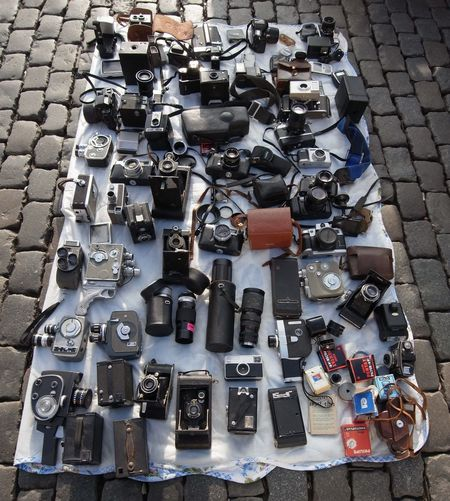 High angle view of cameras at flea market for sale
