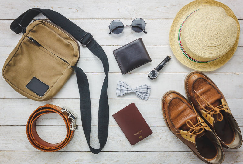 Belt  Close-up Day Directly Above Eyeglasses  Fashion Flat Lay Gentlemen High Angle View Indoors  Man No People Pair Personal Accessory Purse Still Life Sun Hat Sunglasses Table Top View Travel Travel Destinations Wallet