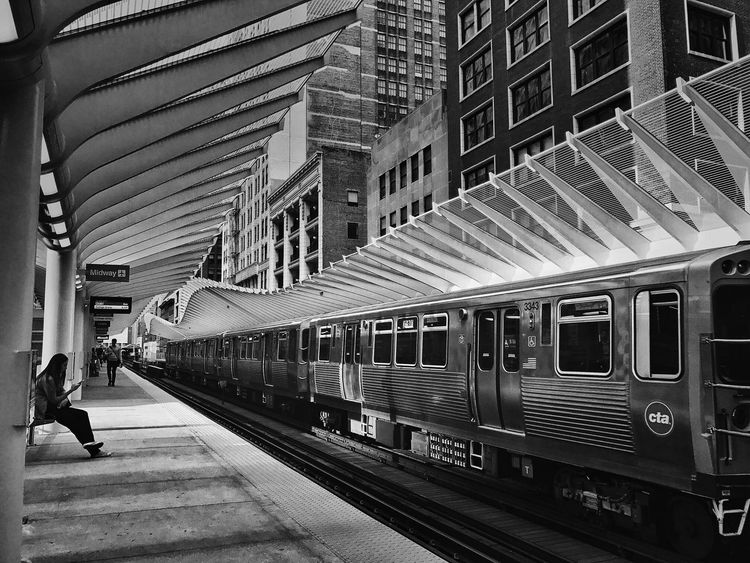 Brand new CTA Train Station barely been used! Chicago Blackandwhite