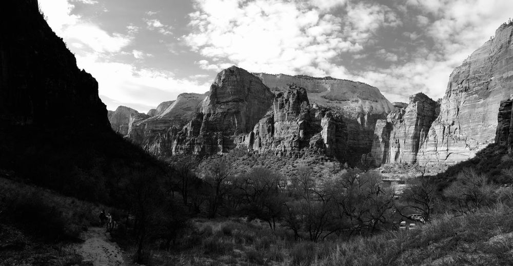 Zion National park Black And White Photography Sandstone Cliffs Zion National Park Zion Sky Tree Mountain Cloud - Sky Plant Nature Day Beauty In Nature Scenics - Nature Tranquility Outdoors Tranquil Scene Non-urban Scene