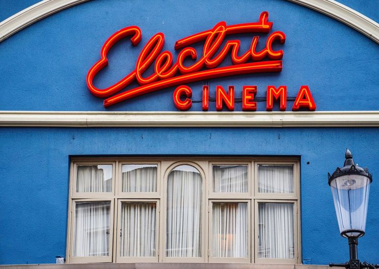Low angle view of nostalgic vintage cinema sign
