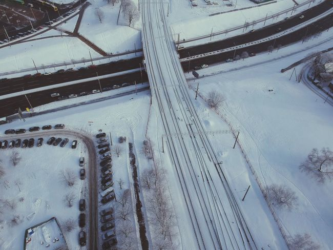 Snow Winter Cold Temperature Transportation No People Day Nature Mode Of Transportation Track Outdoors Full Frame Tire Track Pattern Aerial View Road Covering Ice High Angle View Frozen