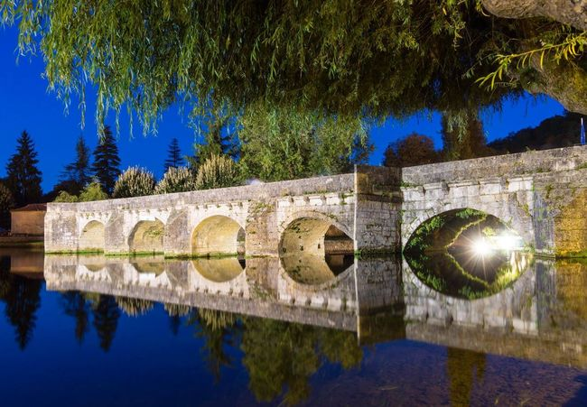 Nightphotography Bridge Water Reflections