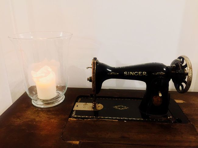 Singer Sewing Machine Food And Drink Drinking Glass Drink Glass Refreshment Table Household Equipment