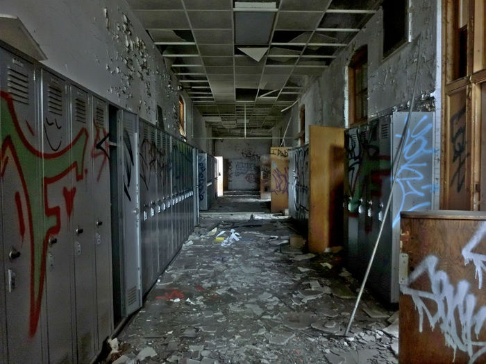 Abandoned School Absence Alley Architecture Building Built Structure Corridor Day Deterioration Diminishing Perspective Dirty Empty Graffiti Long Messy Narrow No People Old Run-down The Way Forward Vanishing Point Walkway Wall Wall - Building Feature