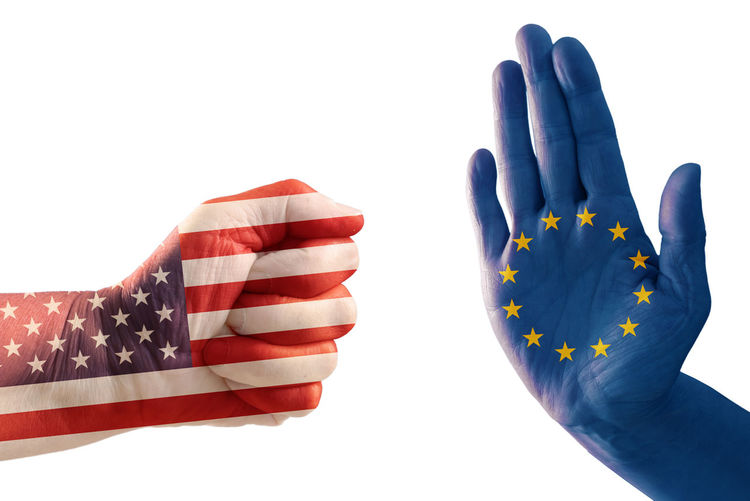 Cropped Hands With Flag Pattern Gesturing Against White Background