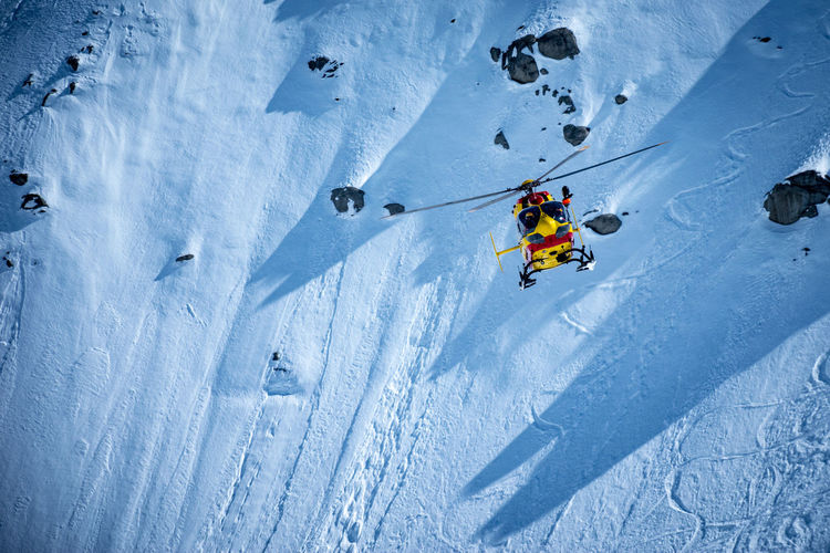 High angle view of person skiing in snow