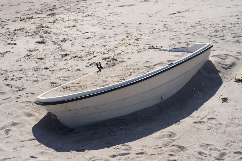 Will it float? Boat Full Of Sand Abandoned Absence Beach Boat Full Of Sand Day High Angle View Land Mode Of Transportation Moored Nautical Vessel No People Rowboat Sand Transportation End Plastic Pollution