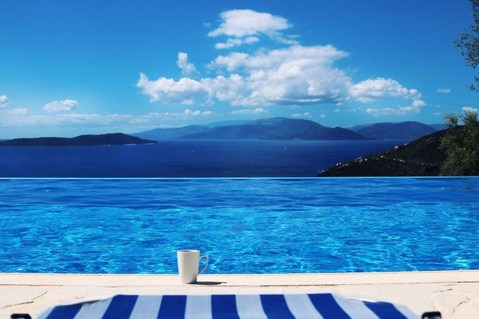 Lefkada Sivota Sea Greece Pool Water Blue Sky Nature Backgrounds Background Wallpaper Coffee Summer Tranquility