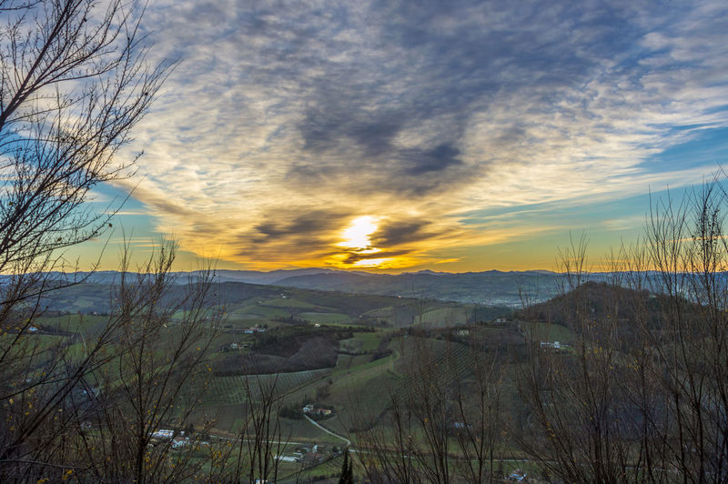 Italy, Bertinoro is a small town placed in Emilia Romagna, located on hill Mount Cesubeo. Here an its sunset. Sky Cloud - Sky Tranquil Scene Beauty In Nature Scenics - Nature Tranquility Sunset Plant Nature No People Environment Tree Landscape Non-urban Scene Mountain Outdoors Land Bare Tree Idyllic