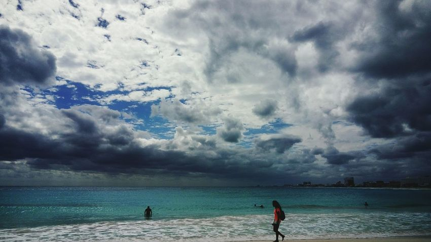 Cancun Cancunbeach Cancun Mexico Cloud - Sky Beach Water Sea Sky Nature Sand Beauty In Nature Scenics Adventure Outdoors Vacations Two People Wave Lifestyles People
