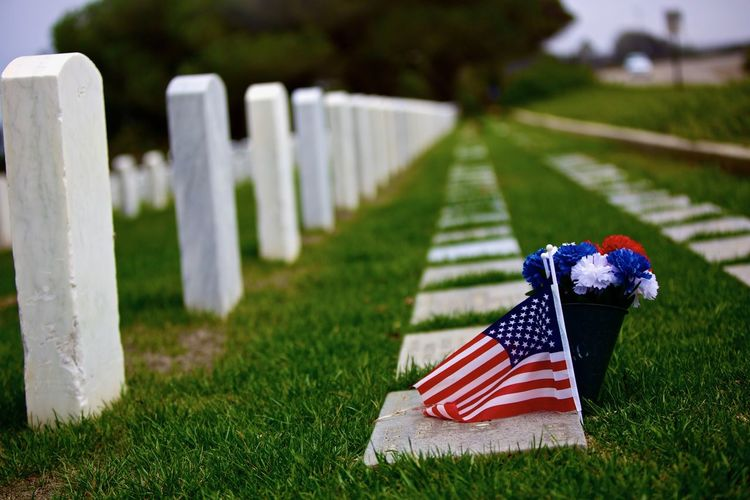 American flag at cemetery