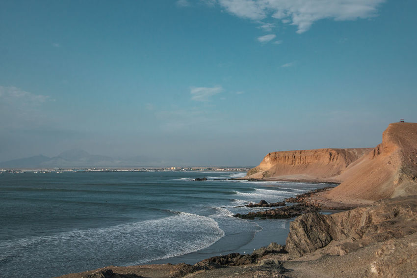 An afternoon exploration walk at the cliffs of Puerto Chicama. Travel Destinations Sky Beauty In Nature Scenics - Nature Nature Surf Surfer Cliffs Sea Water Ocean Waves Non-urban Scene No People Rock Formation Outdoors Wave Sport Land Beach Motion Aquatic Sport Rock Day Tranquility