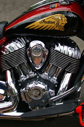 Motorcycle Chrome Machinery Close Up Close-up Indian Motorcycle Street Photography 3XSPUnity Shapes , Lines , Forms & Composition Mechanical Art Old-fashioned Retro Styled Red ArtWork Design