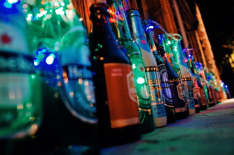 Night No People Illuminated Close-up Outdoors Beer Night Lights Nightlife Drink Bottle Alcohol Colors Light Colorful Reflection Close Up City City Life Bar Beijing Young Street