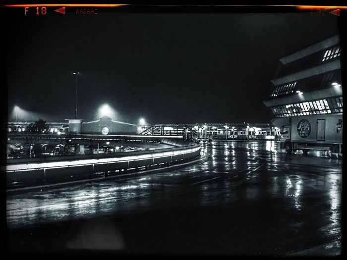 Berlin Airport Tegel Iphonephotography IPhoneography Night Illuminated Architecture Built Structure Travel Destinations Building Exterior River Transportation No People City