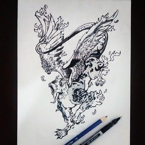 Dibujo Drawing Blancoynegro Blackandwhite Quimera Animales Illustration Art Creative Tiger Ape Eagle Snake Fire Wings Talentthursdaytth Sketch