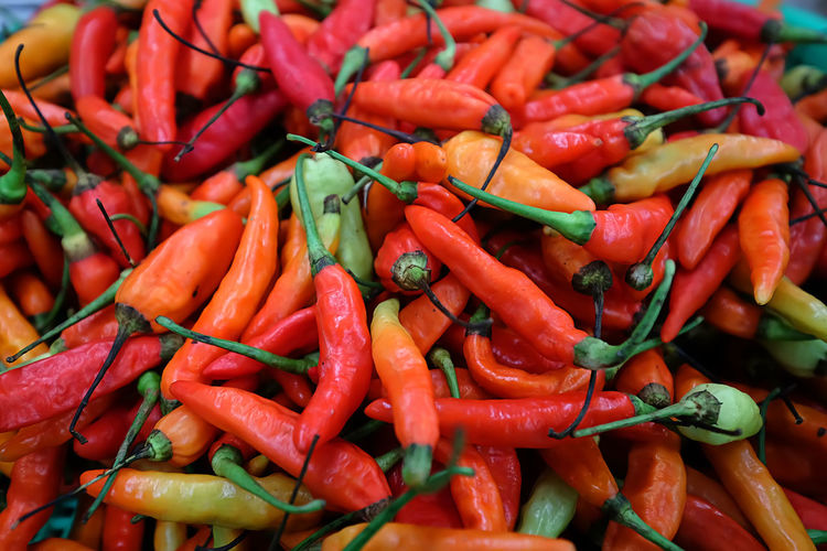 Close-up of red chili peppers for sale at market