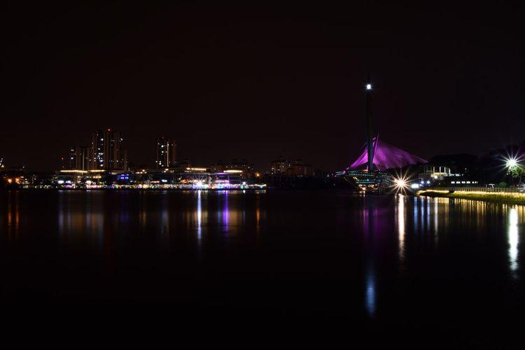 Putrajaya skyline at night view at lake side. City Cityscape Water Illuminated Urban Skyline Nightlife Bridge - Man Made Structure