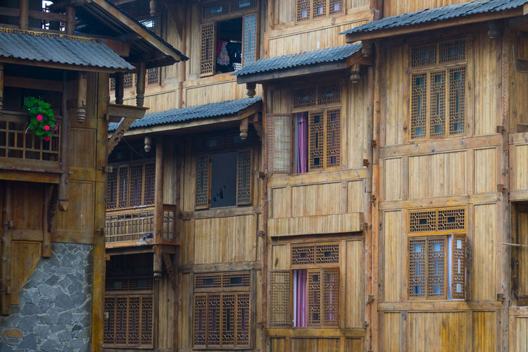 Tradition house of Chinese in Moxi city in China, Ancient house made from wood Architecture Building Exterior Building Built Structure Window Residential District Day No People House City The Past Outdoors History Old Full Frame Backgrounds Low Angle View Town Balcony Wood - Material