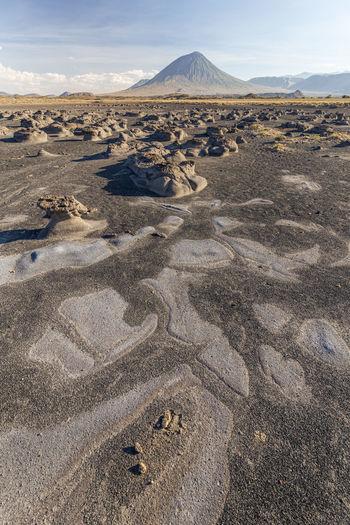 Surface level of desert against sky