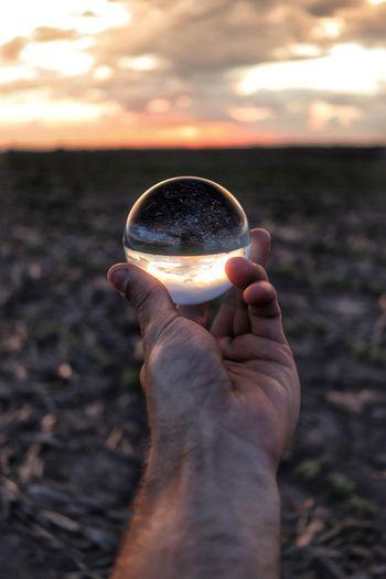 lens ball Iowa Lensball Lens Crystal Ball Glass Ball Glass Sphere Lens Ball Sunset Relfection Prism Flipped Corn Field Country