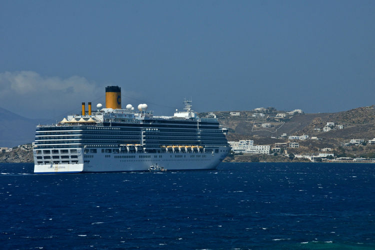 Costa Deliziosa cruise ship anchored in front of Mykonos Nautical Vessel Water Sea Transportation Mode Of Transportation Ship Sky Nature Cruise No People Day Cruise Ship Passenger Craft Travel Architecture Craft Copy Space Building Exterior Clear Sky Outdoors Luxury Costa Deliziosa Mykonos,Greece Cruising Travel Journey