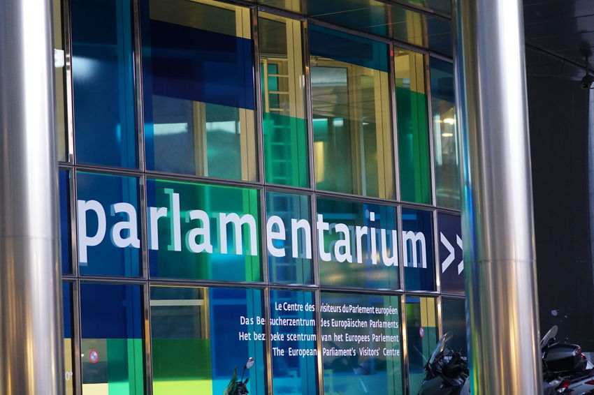 Brussels, Belgium - December 8, 2017: Parlamentarium. The Parlamentarium is the visitors' centre of the European Parliament and is located in the Parliament's Espace Léopold complex in Brussels Belgium Brussels Bruxelles Entrance European Union Sign Signage Visitor Center Visitors Centre European Parliament Eurozone Museum No People Parlamentarium Symbol