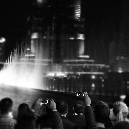 Dubai Fountain Blackandwhite Burjkhlifa DubaiMall Water Night Music Dance