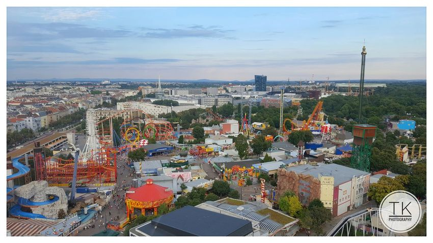 Prater II Amusementpark Architecture Blue City City Life Cityscape Day High Angle View Outdoors Prater Roller Coaster Sky Tadaa Community Urban Urban Scene