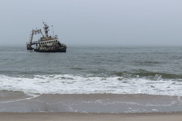 Skeleton Coast Abandoned Accidents And Disasters Beach Crash Damaged Day Horizon Over Water Nature Nautical Vessel No People Offshore Platform Outdoors Sea Sky Sunken Water Wave
