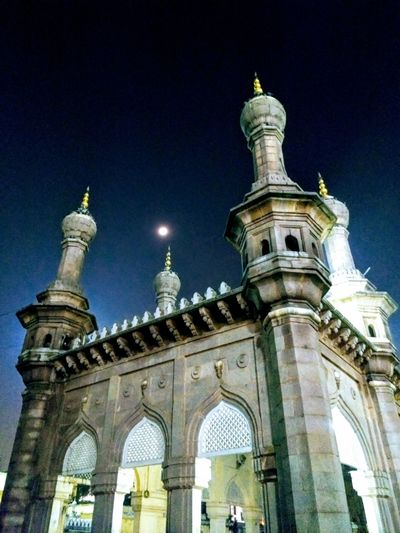 Low Angle View Travel Destinations Sky Building Exterior Dome City Outdoors Illuminated Architecture Night Built Structure Hyderabad,India Mekkah Masjid Charminar The Pride Of Hyderabad Photographer No People Allah ❤❤ first eyeem photo