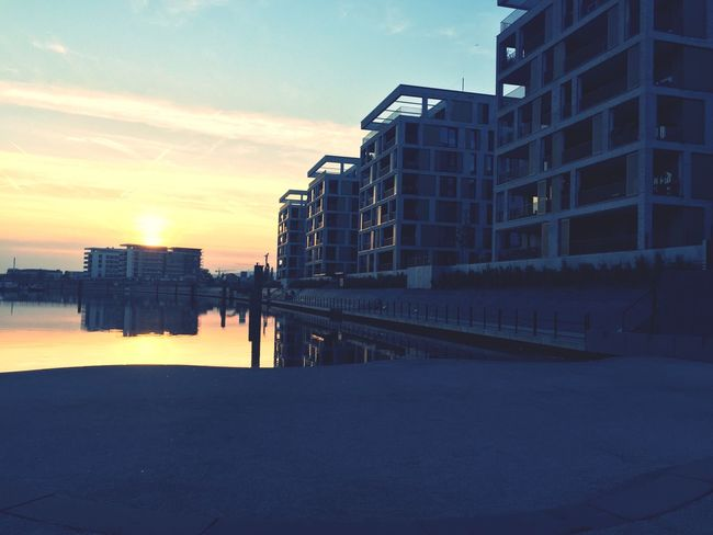 Offenbach Am Main Harbour Sunset Daynight Architecture