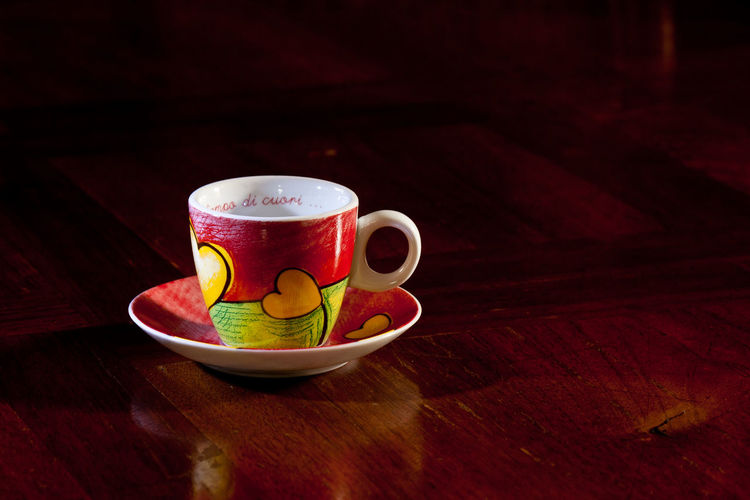 Close-Up Of Heart Shape Painting On Cup And Saucer