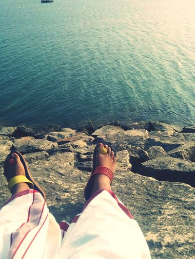Coast Methyadi EyeEmNewHere Mundu Low Section Water Sea Beach Human Leg Standing Sunlight Personal Perspective Feet Flip-flop