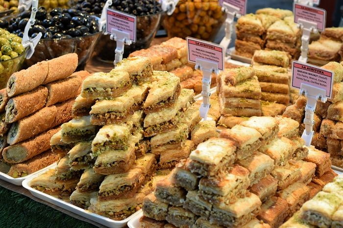Food And Drink Market Freshness Food Price Tag Variation Choice Healthy Eating Fresh Food Market Food And Drink Hungry Yet? Stall Selling On The Street Retail Place Bazaar Ready-to-eat Indoors Market Stall Day No People For Sale Baklava Market Market Stall Pastries