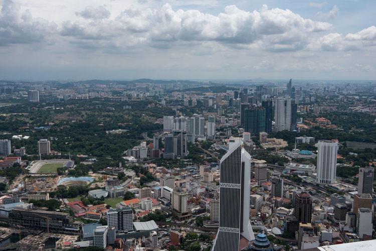 High angle view of cityscape seen from menara kuala lumpur tower
